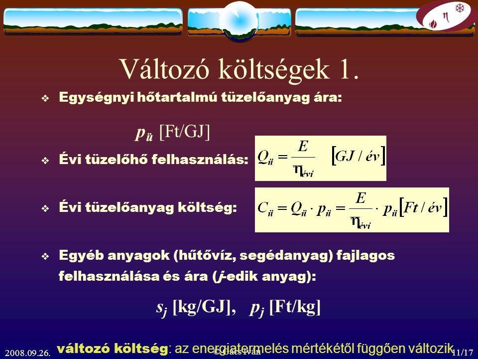 Változó költségek 1. pü [Ft/GJ] sj [kg/GJ], pj [Ft/kg]